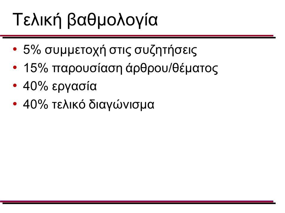 Τελική βαθμολογία 5% συμμετοχή στις συζητήσεις 15% παρουσίαση άρθρου/θέματος 40% εργασία 40% τελικό διαγώνισμα