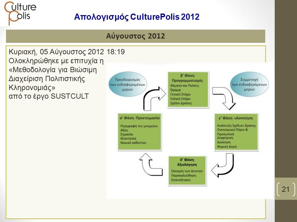 Κυριακή, 05 Αύγουστος 2012 18:19 Ολοκληρώθηκε με επιτυχία η «Μεθοδολογία για Βιώσιμη Διαχείριση Πολιτιστικής Κληρονομιάς» από το έργο SUSTCULT Αύγουστος 2012 21 Απολογισμός CulturePolis 2012
