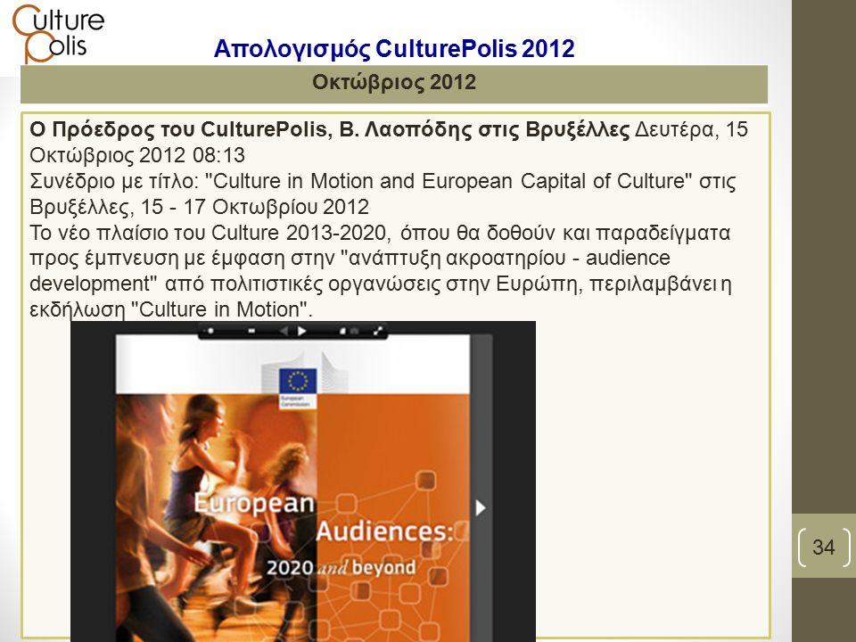 Ο Πρόεδρος του CulturePolis, Β.
