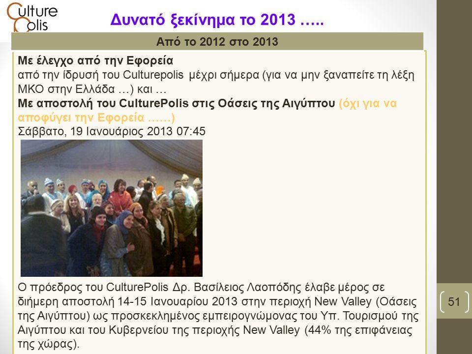 Με έλεγχο από την Εφορεία από την ίδρυσή του Culturepolis μέχρι σήμερα (για να μην ξαναπείτε τη λέξη ΜΚΟ στην Ελλάδα …) και … Με αποστολή του CulturePolis στις Οάσεις της Αιγύπτου (όχι για να αποφύγει την Εφορεία ……) Σάββατο, 19 Ιανουάριος 2013 07:45 Ο πρόεδρος του CulturePolis Δρ.