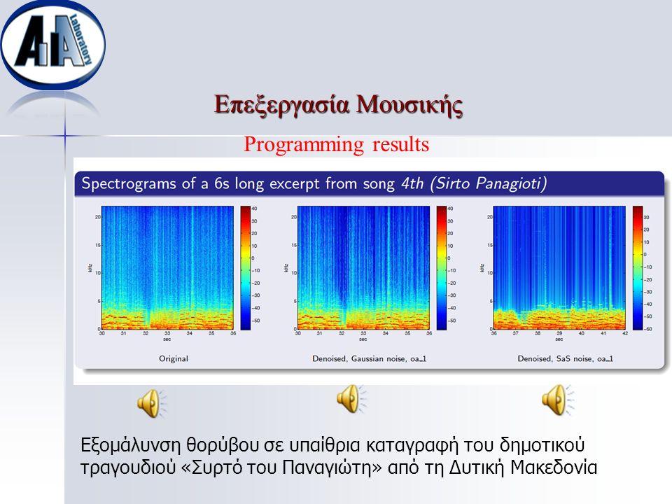 Επεξεργασία Μουσικής Επεξεργασία Μουσικής Εξομάλυνση θορύβου σε υπαίθρια καταγραφή του δημοτικού τραγουδιού «Συρτό του Παναγιώτη» από τη Δυτική Μακεδο