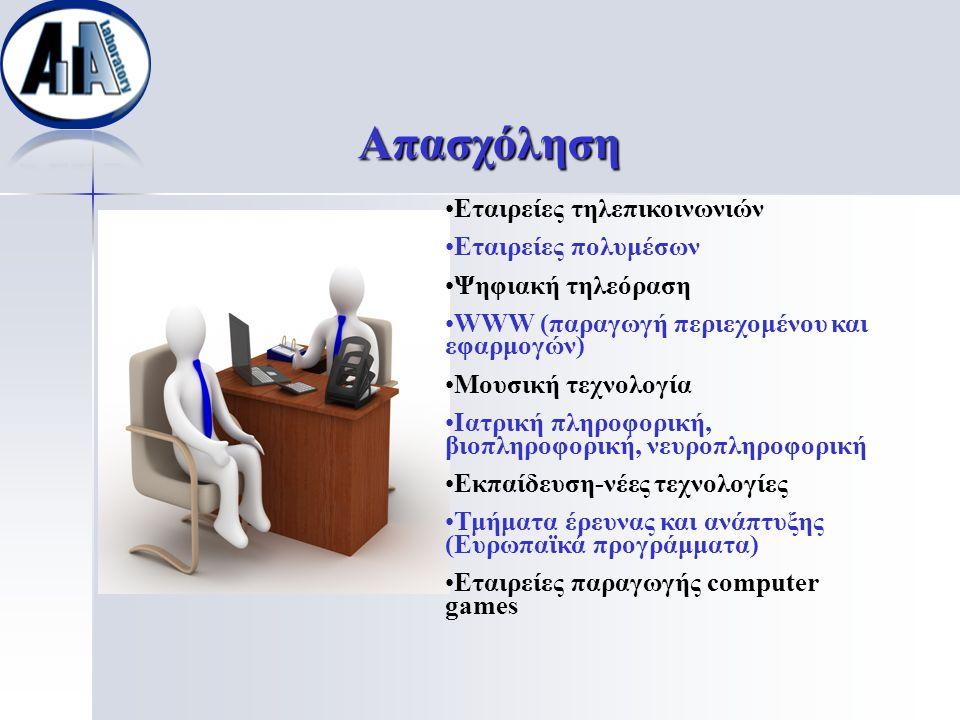 Απασχόληση Εταιρείες τηλεπικοινωνιών Εταιρείες πολυμέσων Ψηφιακή τηλεόραση WWW (παραγωγή περιεχομένου και εφαρμογών) Μουσική τεχνολογία Ιατρική πληροφ