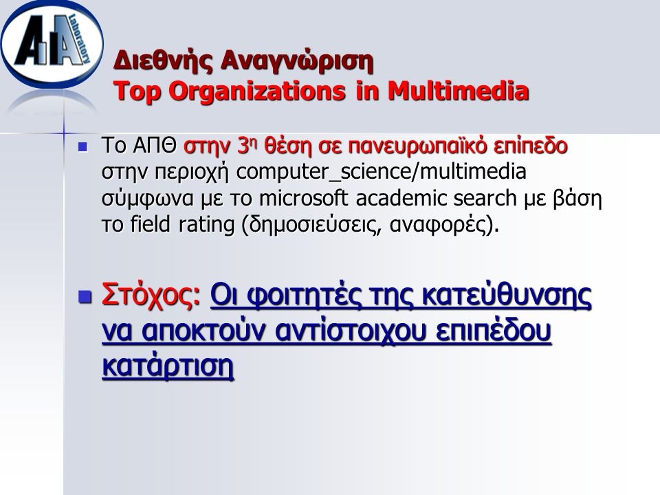 Διεθνής Αναγνώριση Top Organizations in Multimedia Το ΑΠΘ στην 3 η θέση σε πανευρωπαϊκό επίπεδο στην περιοχή computer_science/multimedia σύμφωνα με το