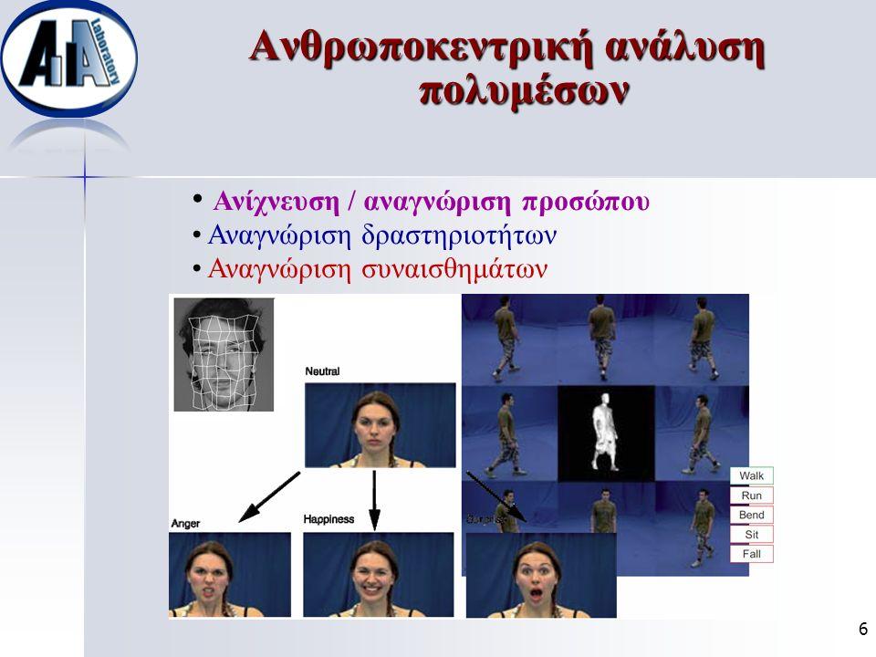 Ανθρωποκεντρική ανάλυση πολυμέσων Ανίχνευση / αναγνώριση προσώπου Αναγνώριση δραστηριοτήτων Αναγνώριση συναισθημάτων 6