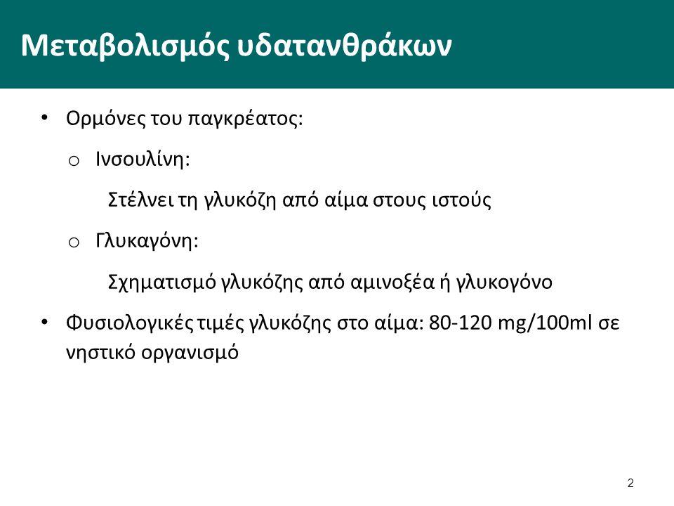 2 Μεταβολισμός υδατανθράκων Ορμόνες του παγκρέατος: o Ινσουλίνη: Στέλνει τη γλυκόζη από αίμα στους ιστούς o Γλυκαγόνη: Σχηματισμό γλυκόζης από αμινοξέα ή γλυκογόνο Φυσιολογικές τιμές γλυκόζης στο αίμα: 80-120 mg/100ml σε νηστικό οργανισμό