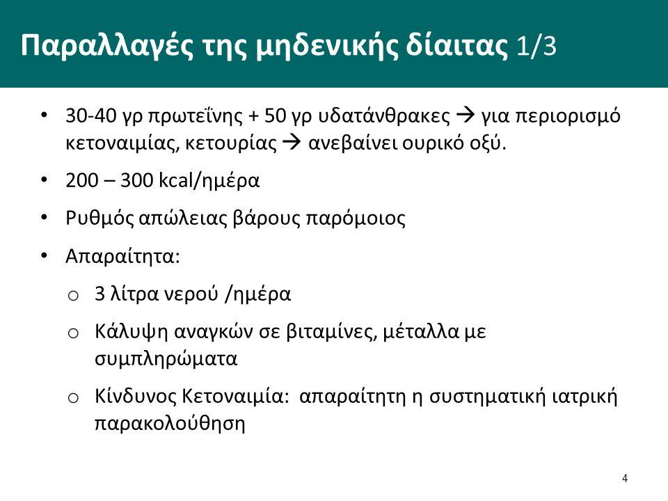 Παραλλαγές μηδενικής δίαιτας 2/3 Με βάση τους χυμούς Αφεψήματα με μέλι Ζωμό λαχανικών Χυμό φρούτων  50 γρ υδατάνθρακες + βιταμίνες + μέταλλα  αναπόφευκτες οι απώλειες σε πρωτεΐνη 5