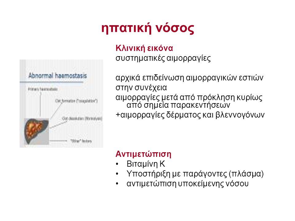 ηπατική νόσος Κλινική εικόνα συστηματικές αιμορραγίες αρχικά επιδείνωση αιμορραγικών εστιών στην συνέχεια αιμορραγίες μετά από πρόκληση κυρίως από σημεία παρακεντήσεων +αιμορραγίες δέρματος και βλεννογόνων Αντιμετώπιση Βιταμίνη Κ Υποστήριξη με παράγοντες (πλάσμα) αντιμετώπιση υποκείμενης νόσου