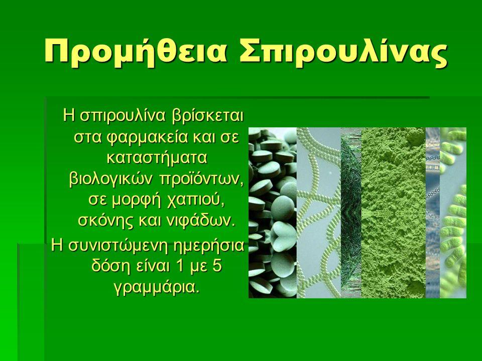 Προμήθεια Σπιρουλίνας Η σπιρουλίνα βρίσκεται στα φαρμακεία και σε καταστήματα βιολογικών προϊόντων, σε μορφή χαπιού, σκόνης και νιφάδων.