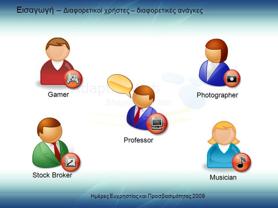 Εισαγωγή – Διαφορετικοί χρήστες – διαφορετικές ανάγκες Stock Broker Photographer Musician Professor Gamer Ημέρες Ευχρηστίας και Προσβασιμότητας 2009