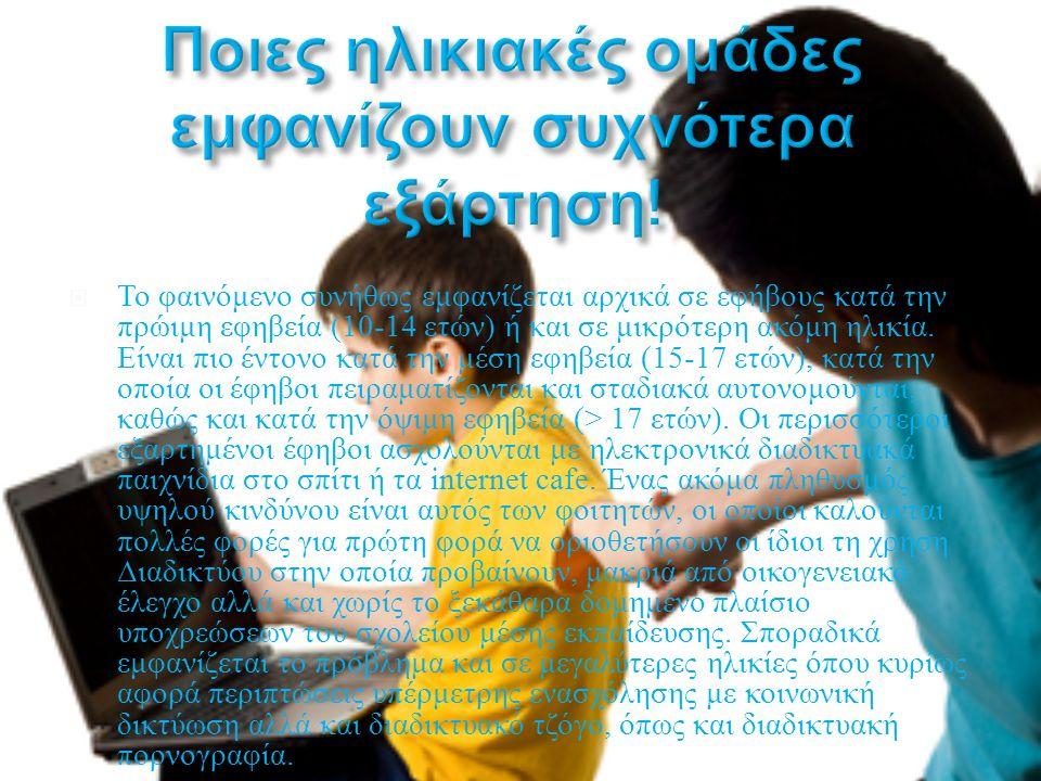  Το φαινόμενο συνήθως εμφανίζεται αρχικά σε εφήβους κατά την πρώιμη εφηβεία (10-14 ετών ) ή και σε μικρότερη ακόμη ηλικία. Είναι πιο έντονο κατά την