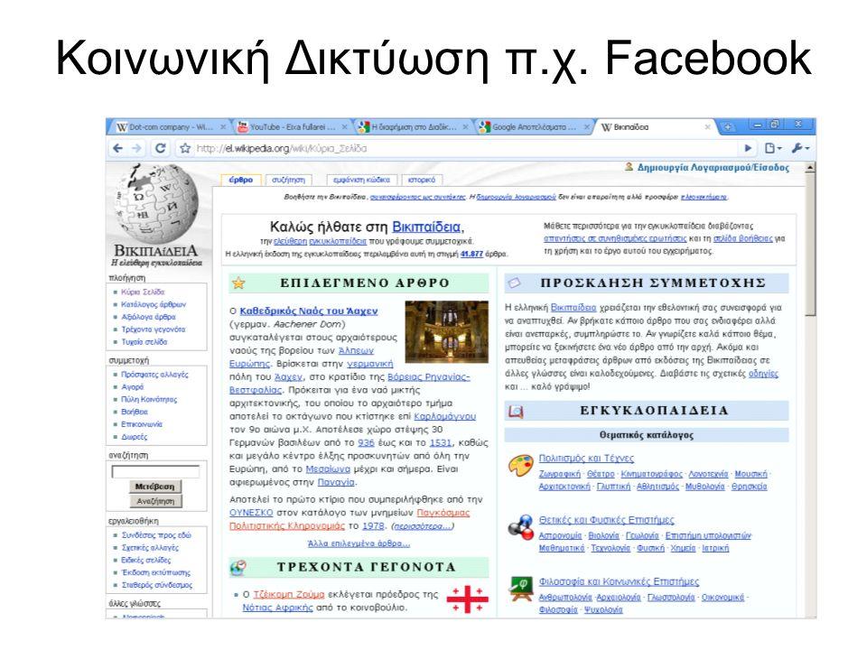 Κοινωνική Δικτύωση π.χ. Facebook