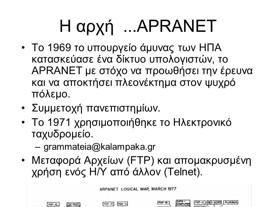 Η αρχή...APRANET Το 1969 το υπουργείο άμυνας των ΗΠΑ κατασκεύασε ένα δίκτυο υπολογιστών, το APRANET με στόχο να προωθήσει την έρευνα και να αποκτήσει