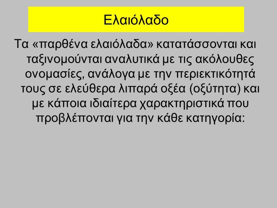 Ελαιόλαδο Τα «παρθένα ελαιόλαδα» κατατάσσονται και ταξινομούνται αναλυτικά με τις ακόλουθες ονομασίες, ανάλογα με την περιεκτικότητά τους σε ελεύθερα