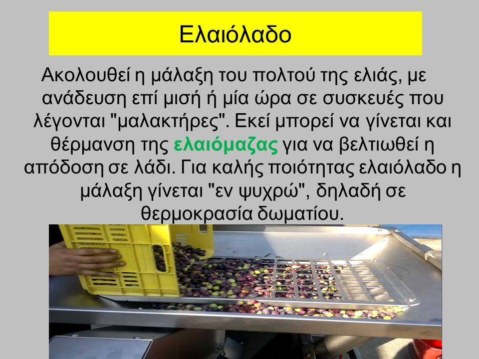 Ελαιόλαδο Ακολουθεί η μάλαξη του πολτού της ελιάς, με ανάδευση επί μισή ή μία ώρα σε συσκευές που λέγονται