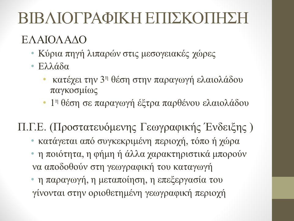 ΒΙΒΛΙΟΓΡΑΦΙΚΗ ΕΠΙΣΚΟΠΗΣΗ ΕΛΑΙΟΛΑΔΟ Κύρια πηγή λιπαρών στις μεσογειακές χώρες Ελλάδα κατέχει την 3 η θέση στην παραγωγή ελαιολάδου παγκοσμίως 1 η θέση σε παραγωγή έξτρα παρθένου ελαιολάδου Π.Γ.Ε.