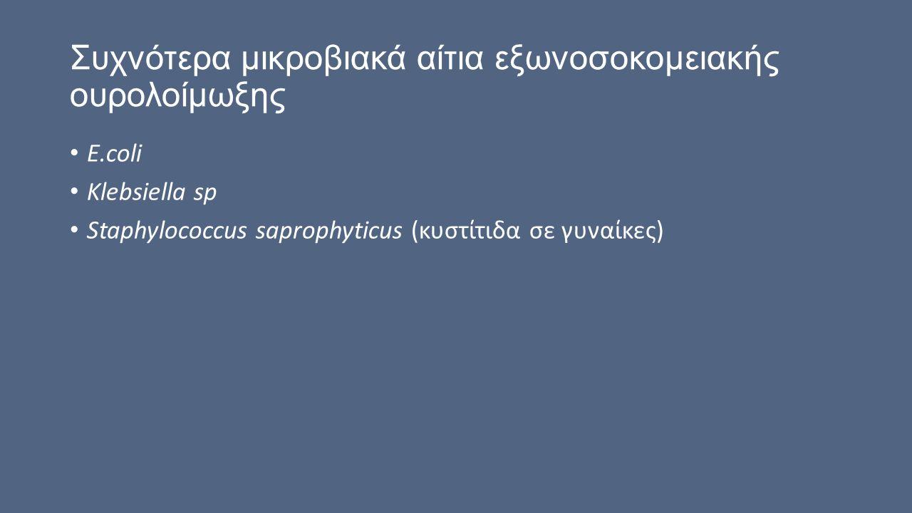 Συχνότερα μικροβιακά αίτια εξωνοσοκομειακής ουρολοίμωξης E.coli Klebsiella sp Staphylococcus saprophyticus (κυστίτιδα σε γυναίκες)