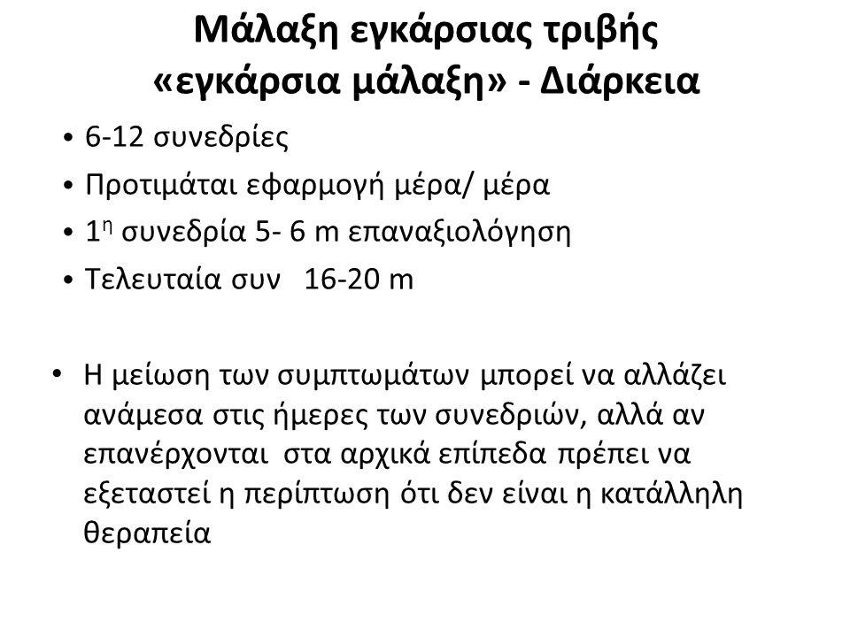 Μάλαξη εγκάρσιας τριβής «εγκάρσια μάλαξη» - Διάρκεια 6-12 συνεδρίες Προτιμάται εφαρμογή μέρα/ μέρα 1 η συνεδρία 5- 6 m επαναξιoλόγηση Τελευταία συν 16