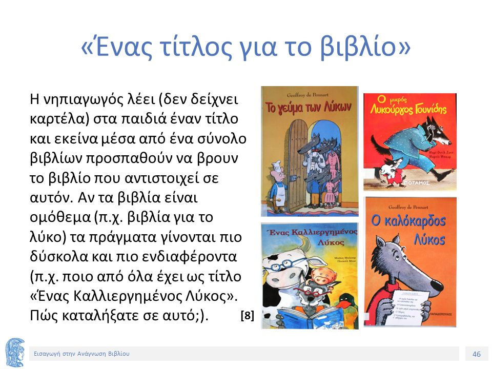 46 Εισαγωγή στην Ανάγνωση Βιβλίου «Ένας τίτλος για το βιβλίο» Η νηπιαγωγός λέει (δεν δείχνει καρτέλα) στα παιδιά έναν τίτλο και εκείνα μέσα από ένα σύνολο βιβλίων προσπαθούν να βρουν το βιβλίο που αντιστοιχεί σε αυτόν.
