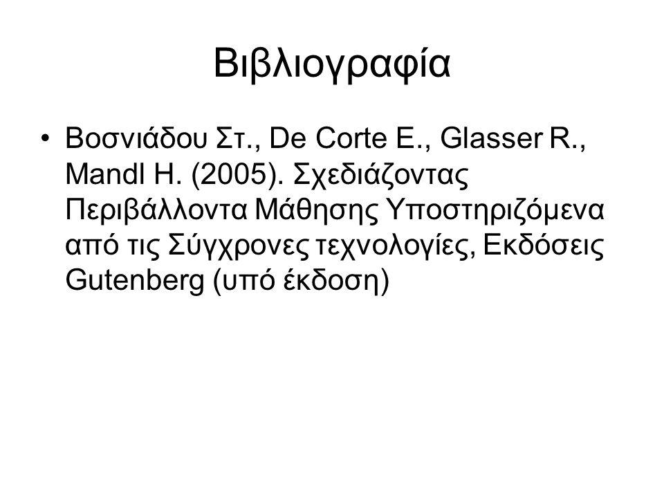 Βιβλιογραφία Βοσνιάδου Στ., De Corte E., Glasser R., Mandl H. (2005). Σχεδιάζοντας Περιβάλλοντα Μάθησης Υποστηριζόμενα από τις Σύγχρονες τεχνολογίες,