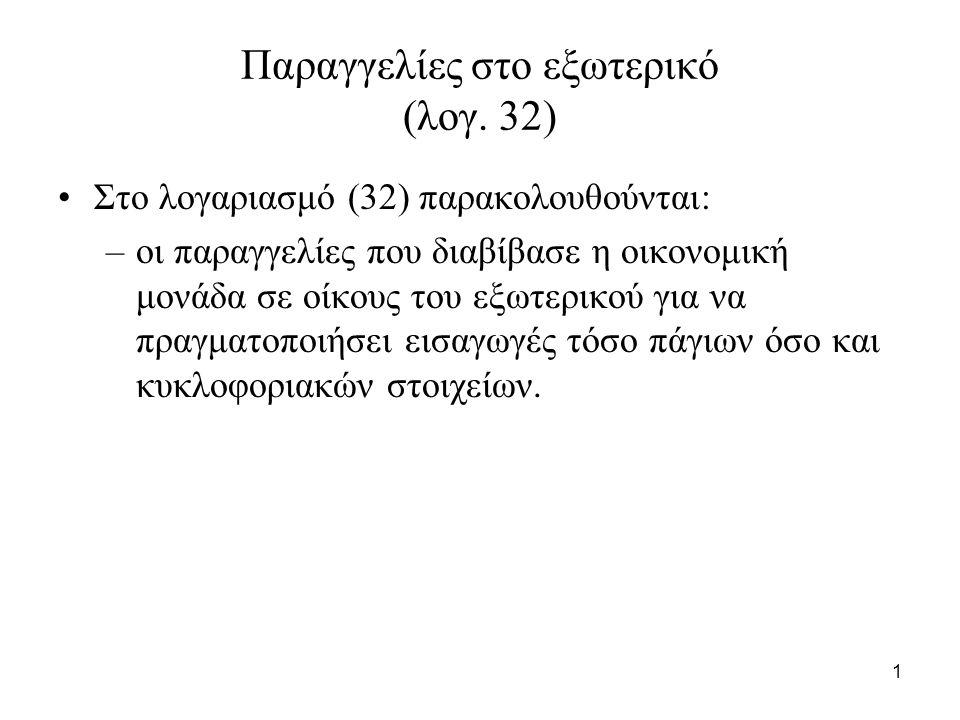 1 Παραγγελίες στο εξωτερικό (λογ. 32) Στο λογαριασμό (32) παρακολουθούνται: –οι παραγγελίες που διαβίβασε η οικονομική μονάδα σε οίκους του εξωτερικού