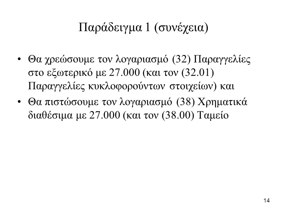 14 Παράδειγμα 1 (συνέχεια) Θα χρεώσουμε τον λογαριασμό (32) Παραγγελίες στο εξωτερικό με 27.000 (και τον (32.01) Παραγγελίες κυκλοφορούντων στοιχείων)