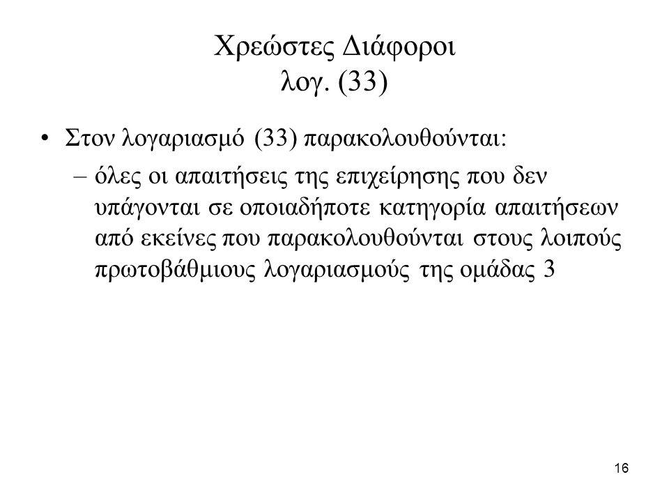 16 Χρεώστες Διάφοροι λογ. (33) Στον λογαριασμό (33) παρακολουθούνται: –όλες οι απαιτήσεις της επιχείρησης που δεν υπάγονται σε οποιαδήποτε κατηγορία α