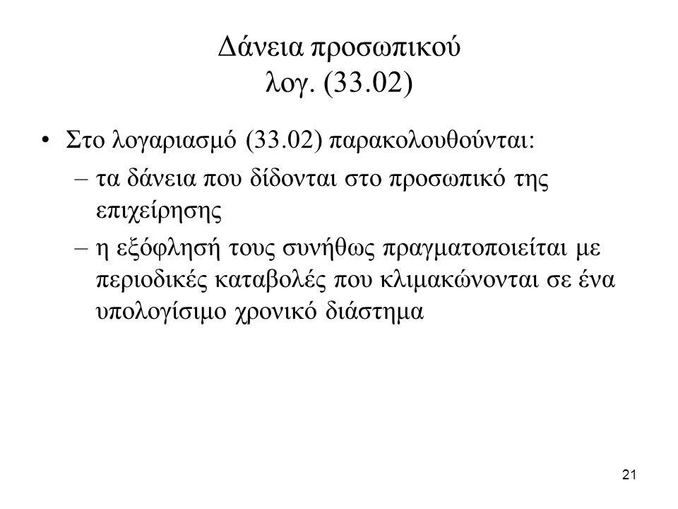 21 Δάνεια προσωπικού λογ. (33.02) Στο λογαριασμό (33.02) παρακολουθούνται: –τα δάνεια που δίδονται στο προσωπικό της επιχείρησης –η εξόφλησή τους συνή