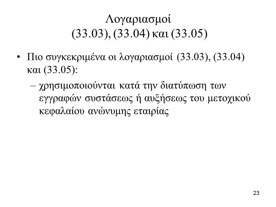 23 Λογαριασμοί (33.03), (33.04) και (33.05) Πιο συγκεκριμένα οι λογαριασμοί (33.03), (33.04) και (33.05): –χρησιμοποιούνται κατά την διατύπωση των εγγ