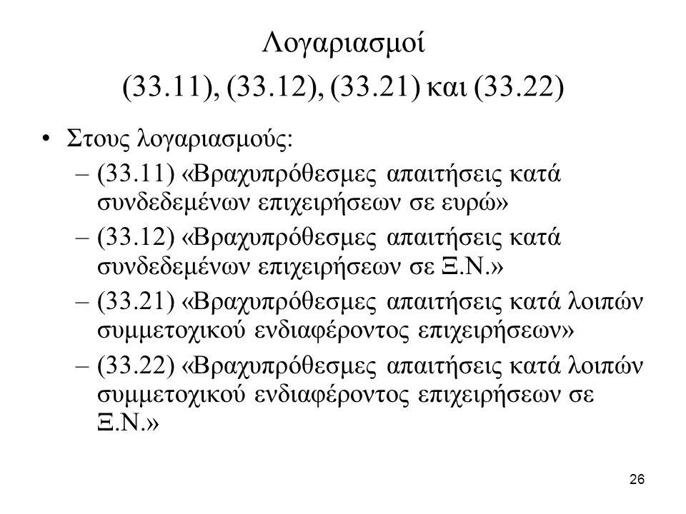 26 Λογαριασμοί (33.11), (33.12), (33.21) και (33.22) Στους λογαριασμούς: –(33.11) «Βραχυπρόθεσμες απαιτήσεις κατά συνδεδεμένων επιχειρήσεων σε ευρώ» –