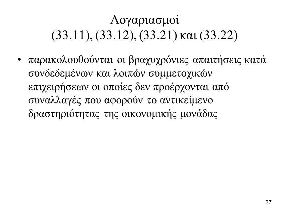 27 Λογαριασμοί (33.11), (33.12), (33.21) και (33.22) παρακολουθούνται οι βραχυχρόνιες απαιτήσεις κατά συνδεδεμένων και λοιπών συμμετοχικών επιχειρήσεω