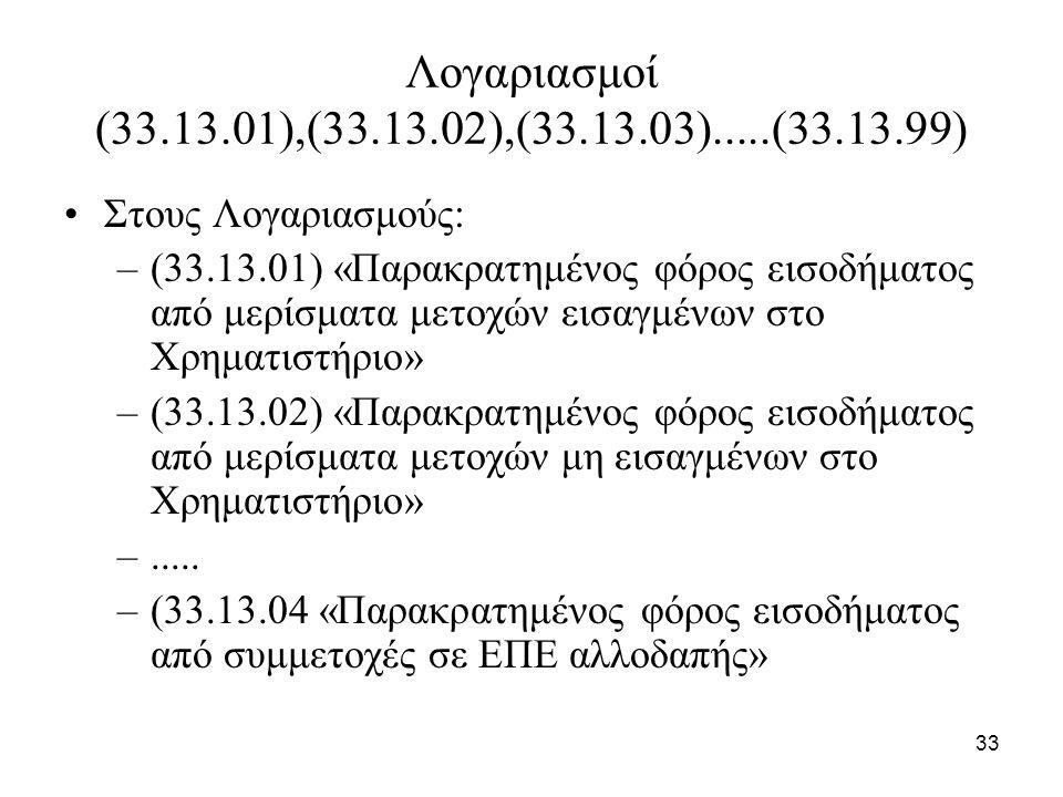 33 Λογαριασμοί (33.13.01),(33.13.02),(33.13.03).....(33.13.99) Στους Λογαριασμούς: –(33.13.01) «Παρακρατημένος φόρος εισοδήματος από μερίσματα μετοχών