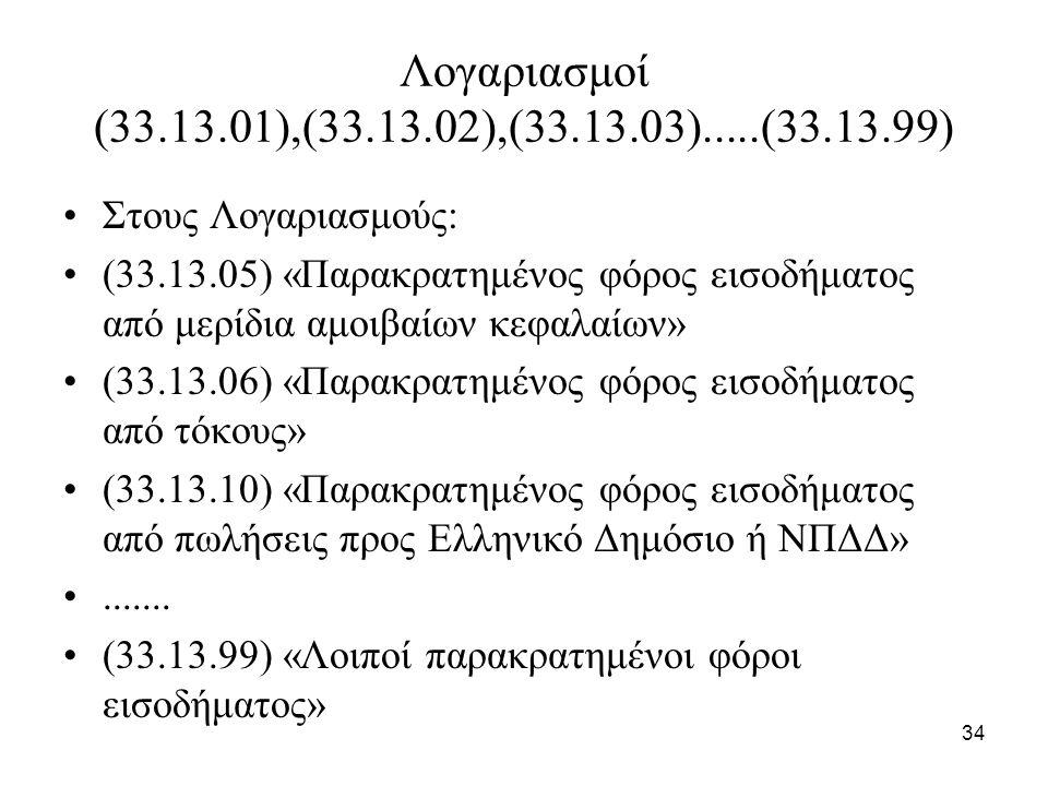 34 Λογαριασμοί (33.13.01),(33.13.02),(33.13.03).....(33.13.99) Στους Λογαριασμούς: (33.13.05) «Παρακρατημένος φόρος εισοδήματος από μερίδια αμοιβαίων