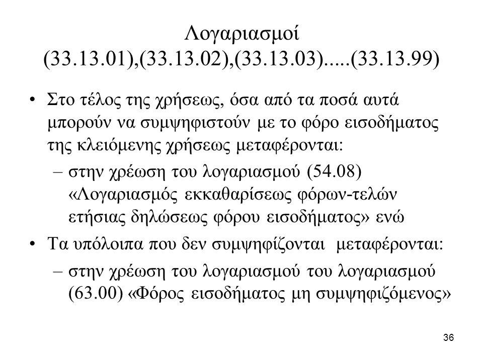 36 Λογαριασμοί (33.13.01),(33.13.02),(33.13.03).....(33.13.99) Στο τέλος της χρήσεως, όσα από τα ποσά αυτά μπορούν να συμψηφιστούν με το φόρο εισοδήμα