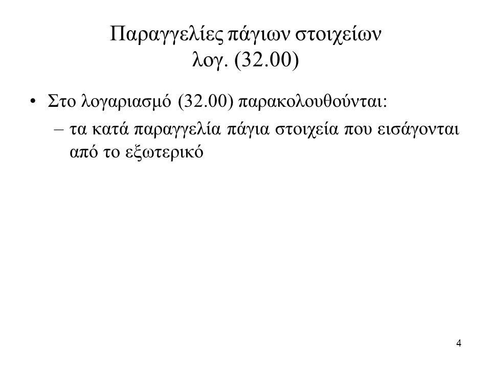 4 Παραγγελίες πάγιων στοιχείων λογ. (32.00) Στο λογαριασμό (32.00) παρακολουθούνται: –τα κατά παραγγελία πάγια στοιχεία που εισάγονται από το εξωτερικ