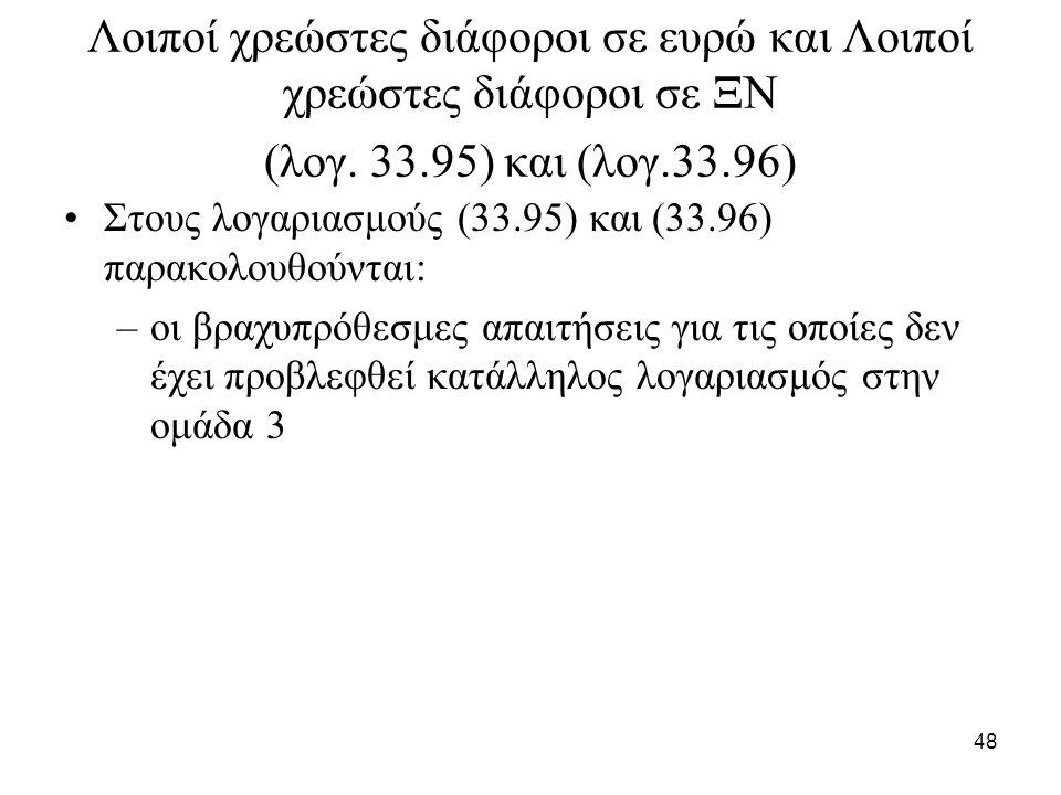 48 Λοιποί χρεώστες διάφοροι σε ευρώ και Λοιποί χρεώστες διάφοροι σε ΞΝ (λογ. 33.95) και (λογ.33.96) Στους λογαριασμούς (33.95) και (33.96) παρακολουθο
