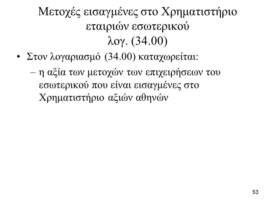 53 Μετοχές εισαγμένες στο Χρηματιστήριο εταιριών εσωτερικού λογ. (34.00) Στον λογαριασμό (34.00) καταχωρείται: –η αξία των μετοχών των επιχειρήσεων το