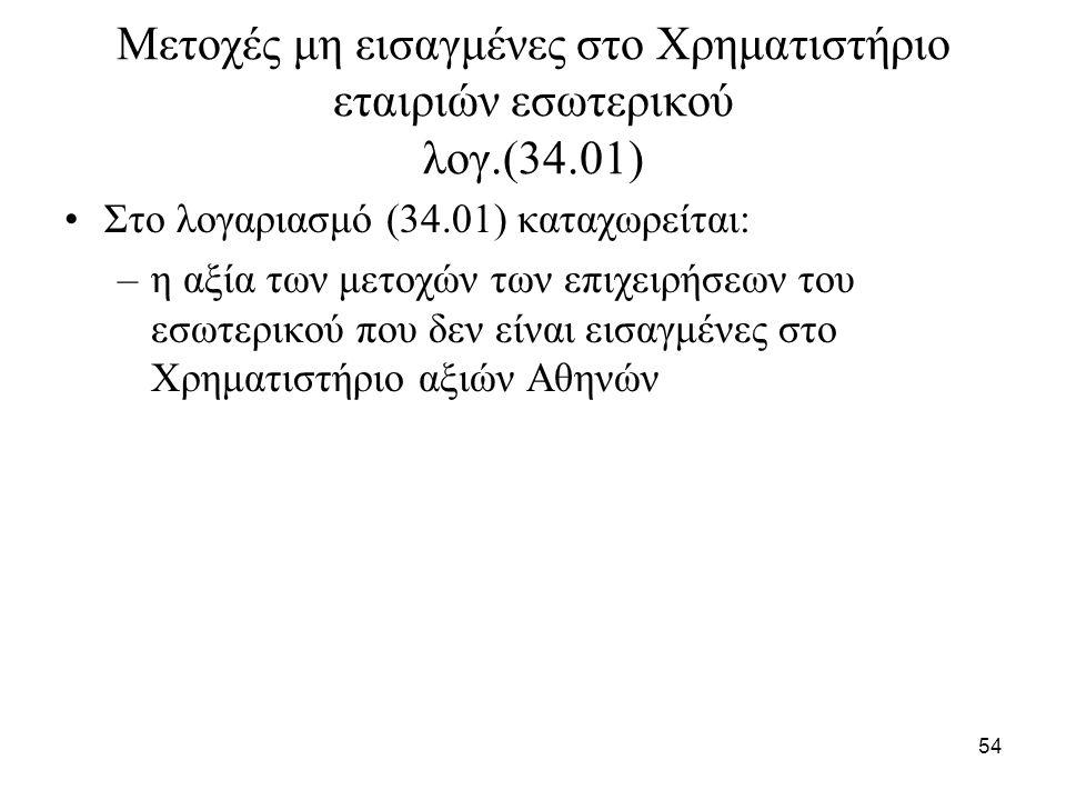 54 Μετοχές μη εισαγμένες στο Χρηματιστήριο εταιριών εσωτερικού λογ.(34.01) Στο λογαριασμό (34.01) καταχωρείται: –η αξία των μετοχών των επιχειρήσεων τ