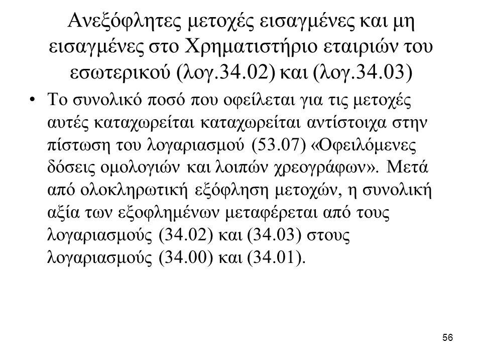 56 Ανεξόφλητες μετοχές εισαγμένες και μη εισαγμένες στο Χρηματιστήριο εταιριών του εσωτερικού (λογ.34.02) και (λογ.34.03) Το συνολικό ποσό που οφείλετ