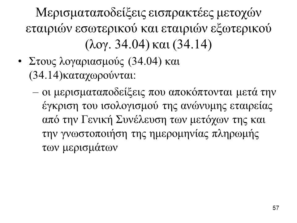 57 Μερισματαποδείξεις εισπρακτέες μετοχών εταιριών εσωτερικού και εταιριών εξωτερικού (λογ. 34.04) και (34.14) Στους λογαριασμούς (34.04) και (34.14)κ