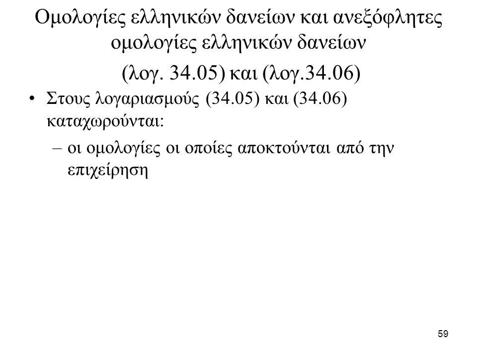 59 Ομολογίες ελληνικών δανείων και ανεξόφλητες ομολογίες ελληνικών δανείων (λογ. 34.05) και (λογ.34.06) Στους λογαριασμούς (34.05) και (34.06) καταχωρ