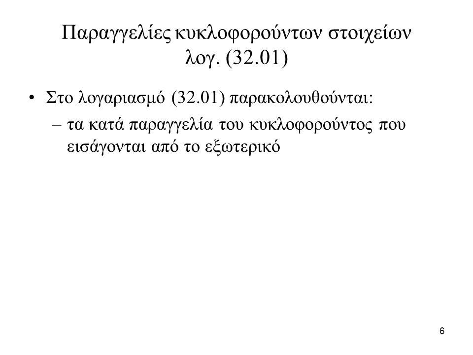 6 Παραγγελίες κυκλοφορούντων στοιχείων λογ. (32.01) Στο λογαριασμό (32.01) παρακολουθούνται: –τα κατά παραγγελία του κυκλοφορούντος που εισάγονται από