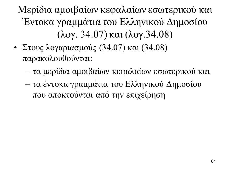 61 Μερίδια αμοιβαίων κεφαλαίων εσωτερικού και Έντοκα γραμμάτια του Ελληνικού Δημοσίου (λογ. 34.07) και (λογ.34.08) Στους λογαριασμούς (34.07) και (34.