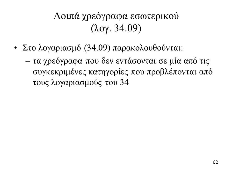 62 Λοιπά χρεόγραφα εσωτερικού (λογ. 34.09) Στο λογαριασμό (34.09) παρακολουθούνται: –τα χρεόγραφα που δεν εντάσονται σε μία από τις συγκεκριμένες κατη