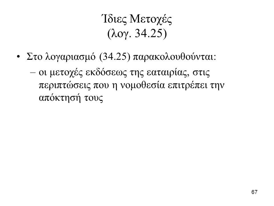 67 Ίδιες Μετοχές (λογ. 34.25) Στο λογαριασμό (34.25) παρακολουθούνται: –οι μετοχές εκδόσεως της εαταιρίας, στις περιπτώσεις που η νομοθεσία επιτρέπει