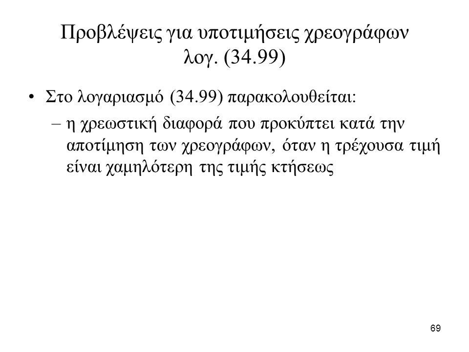 69 Προβλέψεις για υποτιμήσεις χρεογράφων λογ. (34.99) Στο λογαριασμό (34.99) παρακολουθείται: –η χρεωστική διαφορά που προκύπτει κατά την αποτίμηση τω