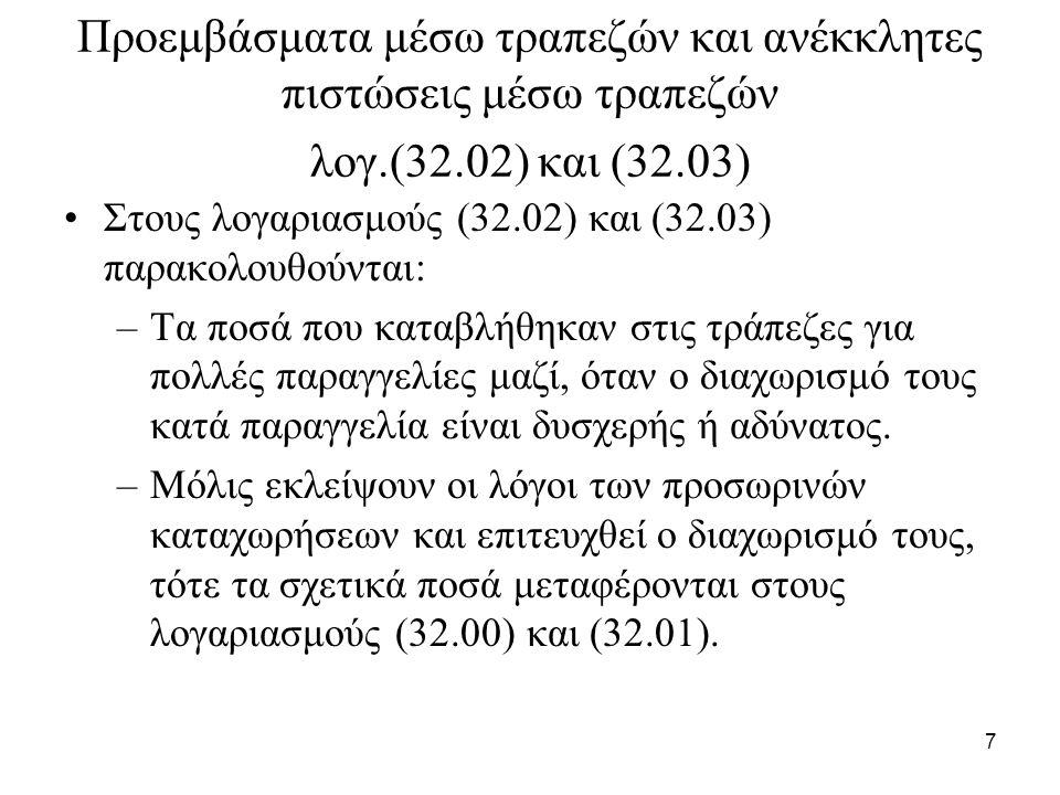 7 Προεμβάσματα μέσω τραπεζών και ανέκκλητες πιστώσεις μέσω τραπεζών λογ.(32.02) και (32.03) Στους λογαριασμούς (32.02) και (32.03) παρακολουθούνται: –