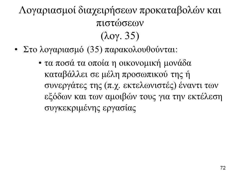 72 Λογαριασμοί διαχειρήσεων προκαταβολών και πιστώσεων (λογ. 35) Στο λογαριασμό (35) παρακολουθούνται: τα ποσά τα οποία η οικονομική μονάδα καταβάλλει