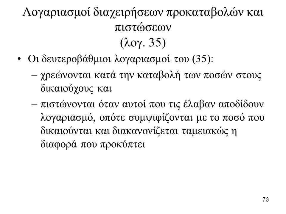 73 Λογαριασμοί διαχειρήσεων προκαταβολών και πιστώσεων (λογ. 35) Οι δευτεροβάθμιοι λογαριασμοί του (35): –χρεώνονται κατά την καταβολή των ποσών στους