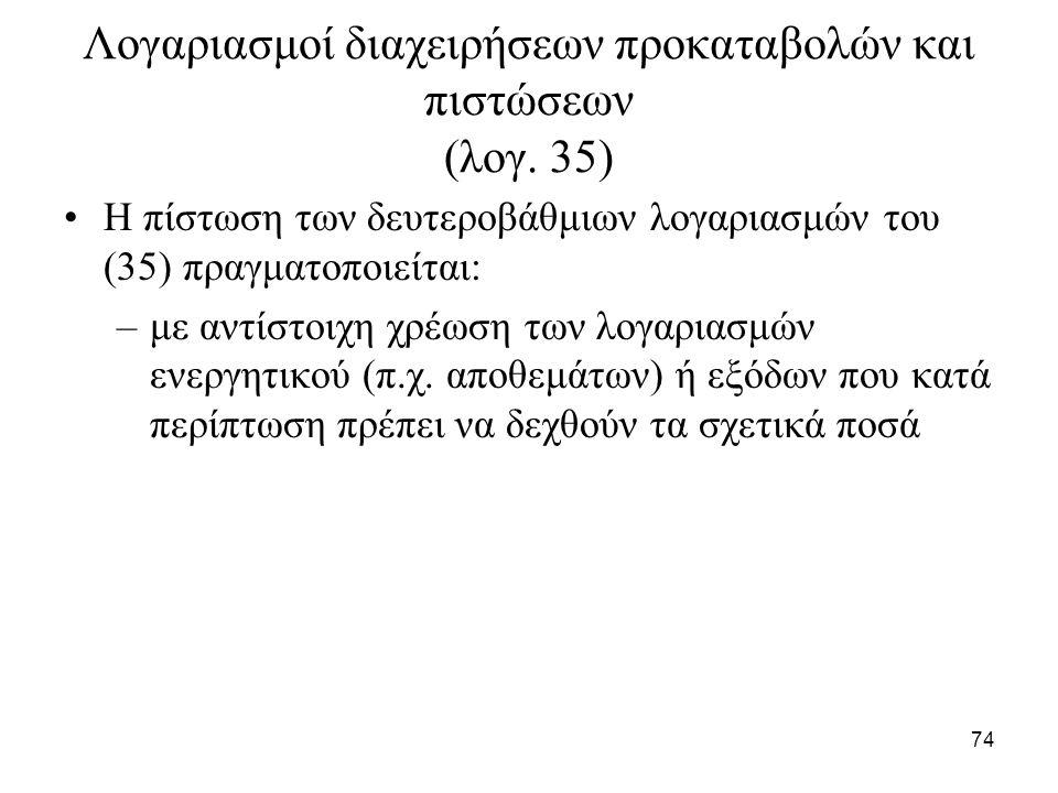 74 Λογαριασμοί διαχειρήσεων προκαταβολών και πιστώσεων (λογ. 35) Η πίστωση των δευτεροβάθμιων λογαριασμών του (35) πραγματοποιείται: –με αντίστοιχη χρ