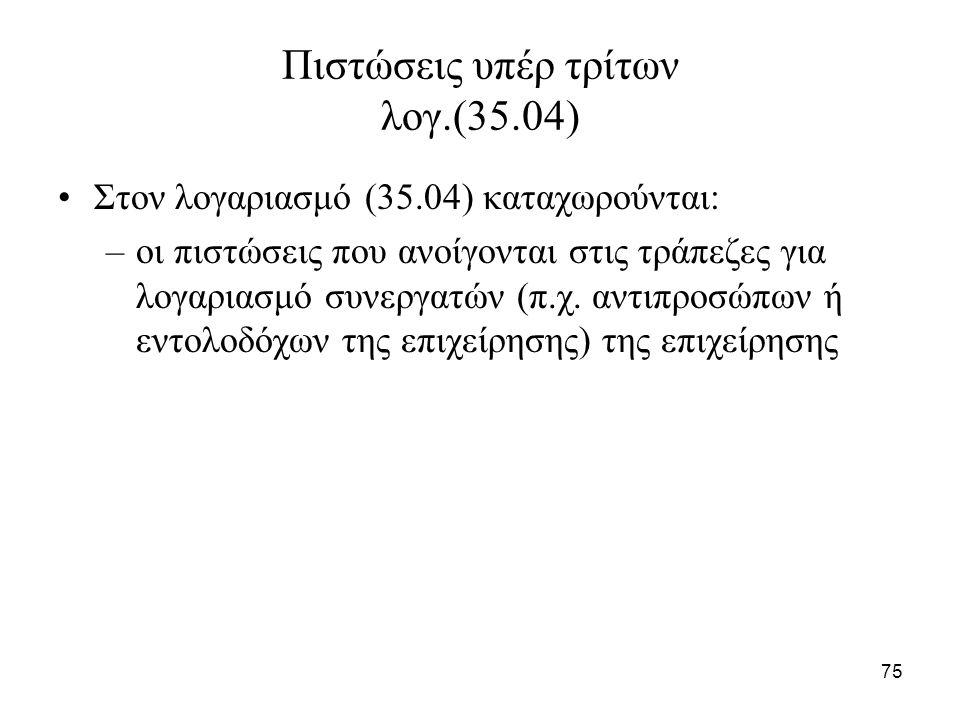75 Πιστώσεις υπέρ τρίτων λογ.(35.04) Στον λογαριασμό (35.04) καταχωρούνται: –οι πιστώσεις που ανοίγονται στις τράπεζες για λογαριασμό συνεργατών (π.χ.